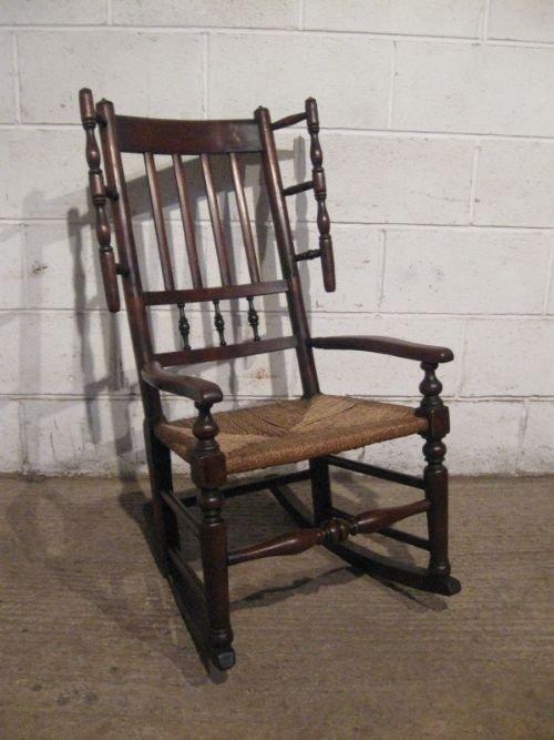 antique georgian country oak lancashire spindle back rocking chair c1780  wdb4601144 - Antique Georgian Country Oak Lancashire Spindle Back Rocking Chair
