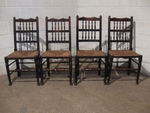 set four antique georgian elm lancashire chairs c1780 wdb200214 - Set Four Antique Georgian Elm Lancashire Chairs C1780 Wdb200/21.4