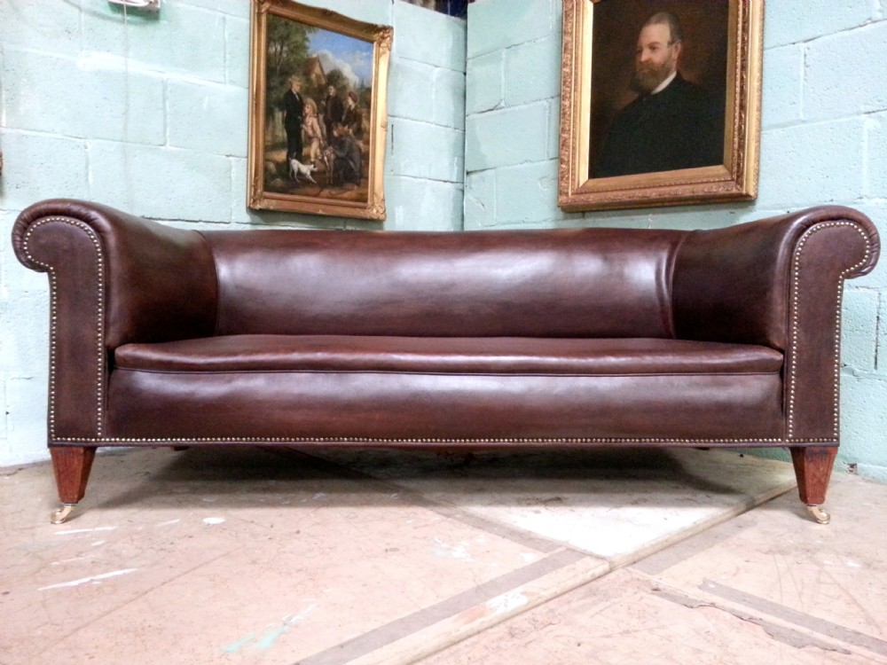 Antique Victorian Edwardian Brown Leather Large Overstuffed